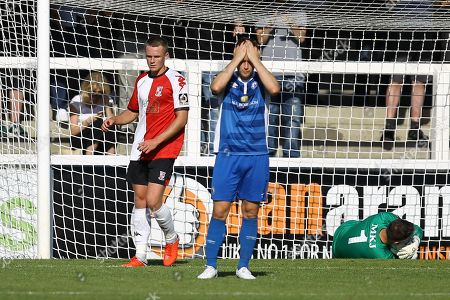 Frustration for Jake Robinson of Billericay Town after Herbert Schotterl of Woking saves a shot from Adam Coombes of Billericay Town during Woking vs Billericay Town, Vanarama National League South Football at The Laithwaite Community Stadium on 1st September 2018