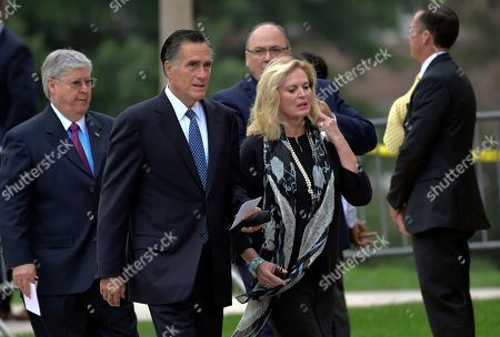 Mitt Romney, Ann Romney. Mitt Romney, second from left, and his wife Ann, arrive to attend a memorial service for Sen. John McCain, R-Ariz., at the Washington National Cathedral in Washington, . McCain died Aug. 25 from brain cancer at age 81