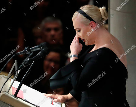 Meghan McCain speaks at a memorial service for her father, Sen. John McCain, R-Ariz., at Washington Nationals Cathedral in Washington, . McCain died Aug. 25, from brain cancer at age 81