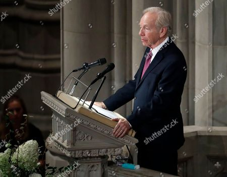 Former Sen. Joseph Lieberman speaks during a memorial services for Sen. John McCain, R-Ariz., at Washington Nationals Cathedral in Washington, . McCain died Aug. 25, from brain cancer at age 81