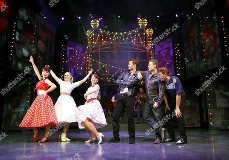 'Dreamboats and Petticoats' - l-r: Jennifer Biddall (Sue), Daisy Wood-Davis (Laura), Emma Hatton (Donna), Ben Freeman (Norman), Scott Bruton (Bobby), A J Dean (Ray)