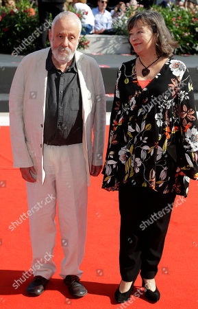Director Mike Leigh and Marion Bailey pose for photographers upon arrival at the premiere for the film 'Peterloo' at the 75th edition of the Venice Film Festival in Venice, Italy