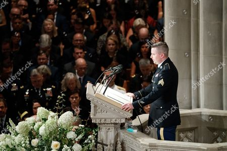 James McCain delivers a reading during the memorial service for his father Senator John McCain at the Washington National Cathedral in Washington, DC, USA, 01 September 2018. Senator McCain died 25 August, 2018 from brain cancer at his ranch in Sedona, Arizona, USA. He was a veteran of the Vietnam War, served two terms in the US House of Representatives, and was elected to five terms in the US Senate. McCain also ran for president twice, and was the Republican nominee in 2008.