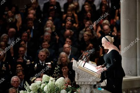 Meghan McCain delivers remarks during the memorial service for her father Senator John McCain at the Washington National Cathedral in Washington, DC, USA, 01 September 2018. Senator McCain died 25 August, 2018 from brain cancer at his ranch in Sedona, Arizona, USA. He was a veteran of the Vietnam War, served two terms in the US House of Representatives, and was elected to five terms in the US Senate. McCain also ran for president twice, and was the Republican nominee in 2008.