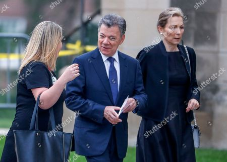 Former president of Colombia Juan Manuel Santos (C) and his wife Maria Clemencia Rodriguez Munera (R) arrive for the memorial service for Senator John McCain at the Washington National Cathedral in Washington, DC, USA, 01 September 2018. McCain died 25 August, 2018 from brain cancer at his ranch in Sedona, Arizona, USA. He was a veteran of the Vietnam War, served two terms in the US House of Representatives, and was elected to five terms in the US Senate. McCain also ran for president twice, and was the Republican nominee in 2008.