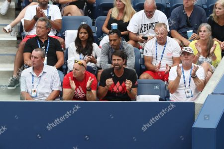A view of Alexander Zverev's Player's Box. L-R Trainer, coach Ivan Lendl, (behind him in black shirt Manager Patricio Apey,) Fitness Trainer Jez Green, Physiotherapist Hugo Gravil  and on the far right father Alexander Zverev Senior