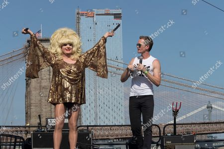 Lady Bunny, Neil Patrick Harris. Neil Patrick Harris, right, appears on stage along Lady Bunny during Wigstock, in New York. The 1980s festival, an impromptu creation of unruly patrons in drag who stumbled out of an East Village club at about 2 a.m. to improvise for homeless people in garbage-strewn, rat-infested Tompkins Square Park, was revived at New York City's Pier 17