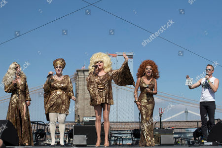 Lady Bunny, Neil Patrick Harris. Neil Patrick Harris, right, appears on stage along Lady Bunny, center, and other performers during Wigstock, in New York. The 1980s festival, an impromptu creation of unruly patrons in drag who stumbled out of an East Village club at about 2 a.m. to improvise for homeless people in garbage-strewn, rat-infested Tompkins Square Park, was revived at New York City's Pier 17