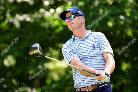 Kevin Streelman, of the United States, watches the flight of his ball from the ninth tee box during the second round of the PGA Dell Technologies Championship golf tournament held at TPC Boston in Norton, MA