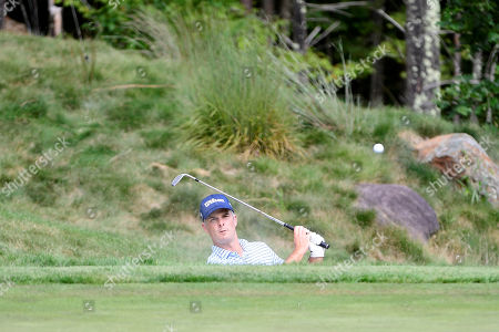 Kevin Streelman, of the United States, plays a shot from a bunker on the third hole during the second round of the PGA Dell Technologies Championship golf tournament held at TPC Boston in Norton, MA