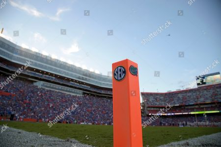 A pylon stands in the corner of an end zone at Ben Hill Griffin Stadium before an NCAA college football game between Florida and Charleston Southern, in Gainesville, Fla