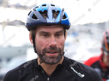 Stock Picture of Iain Percy OBE form mer sailing partner of Andrew Simpson (Bart) at Bart's Bash charity cycle ride at WPNSA, Portland, Dorset.