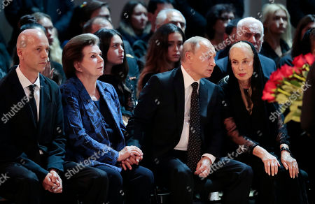 Russian President Vladimir Putin (R), with widow Nelli Kobzon (R), Maxim Kobzon (L) and their friend, first female cosmonaut Valentina Tereshkova (2-L)  Iosif Kobzon's son Maxim Kobzon (L) and their friend, first female cosmonaut Valentina Tereshkova (2-L) during a funeral ceremony of the Soviet and Russian singer Iosif Kobzon at Tchaikovsky concert hall in Moscow, Russia, 02 September 2018. Iosif Kobzon, a leader of Soviet pop singer school, compared to Frank Sinatra and known also for his charity activity and as a public figure, has died at the age of 81 on 30 August 2018.