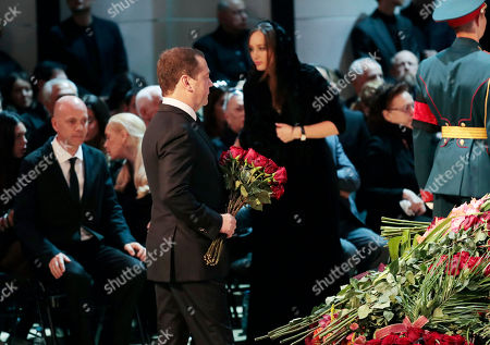Russian Prime minister Dmitry Medvedev (C) lays flowers at the coffin during a funeral ceremony of the Soviet and Russian singer Iosif Kobzon at Tchaikovsky concert hall in Moscow, Russia, 02 September 2018. Iosif Kobzon, a leader of Soviet pop singer school, compared to Frank Sinatra and known also for his charity activity and as a public figure, has died at the age of 81 on 30 August 2018.