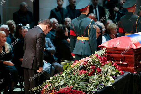 Russian Prime minister Dmitry Medvedev (C) pays his respect at the coffin during a funeral ceremony of the Soviet and Russian singer Iosif Kobzon at Tchaikovsky concert hall in Moscow, Russia, 02 September 2018. Iosif Kobzon, a leader of Soviet pop singer school, compared to Frank Sinatra and known also for his charity activity and as a public figure, has died at the age of 81 on 30 August 2018.