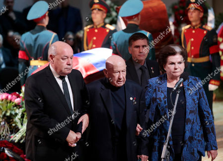 Elders of Soviet space exploration era, first ever female cosmonaut Valentina Tereshkova (R) and first space walker Alexei Leonov (C) with former minister of culture Mikhail Shvydkoi (L) during a funeral ceremony of the Soviet and Russian singer Iosif Kobzon at Tchaikovsky concert hall in Moscow, Russia, 02 September 2018. Iosif Kobzon, a leader of Soviet pop singer school, compared to Frank Sinatra and known also for his charity activity and as a public figure, has died at the age of 81 on 30 August 2018.