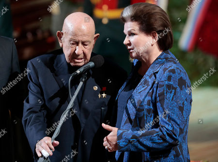Elders of Soviet space exploration era, first ever female cosmonaut Valentina Tereshkova (R) and first space walker Alexei Leonov (L) speak during a funeral ceremony of the Soviet and Russian singer Iosif Kobzon at Tchaikovsky concert hall in Moscow, Russia, 02 September 2018. Iosif Kobzon, a leader of Soviet pop singer school, compared to Frank Sinatra and known also for his charity activity and as a public figure, has died at the age of 81 on 30 August 2018.
