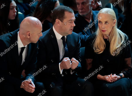 Russian Prime minister Dmitry Medvedev (C) with widow Nelli Kobzon (R) and Maxim Kobzon (L) during a funeral ceremony of the Soviet and Russian singer Iosif Kobzon at Tchaikovsky concert hall in Moscow, Russia, 02 September 2018. Iosif Kobzon, a leader of Soviet pop singer school, compared to Frank Sinatra and known also for his charity activity and as a public figure, has died at the age of 81 on 30 August 2018.