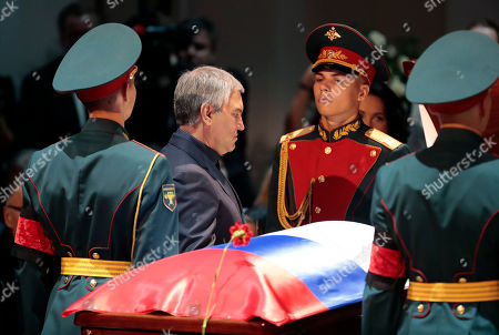 Russian State Duma speaker Viacheslav Volodin (C) pays his respect at the coffin during a funeral ceremony of the Soviet and Russian singer Iosif Kobzon at Tchaikovsky concert hall in Moscow, Russia, 02 September 2018. Iosif Kobzon, a leader of Soviet pop singer school, compared to Frank Sinatra and known also for his charity activity and as a public figure, has died at the age of 81 on 30 August 2018.