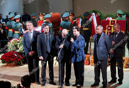 Elders of Soviet space exploration era, first ever female cosmonaut Valentina Tereshkova (3-R) and first space walker Alexei Leonov (3-L) speak during a funeral ceremony of the Soviet and Russian singer Iosif Kobzon at Tchaikovsky concert hall in Moscow, Russia, 02 September 2018. Iosif Kobzon, a leader of Soviet pop singer school, compared to Frank Sinatra and known also for his charity activity and as a public figure, has died at the age of 81 on 30 August 2018.