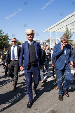 Dutch right-wing populist 'Partij voor de Vrijheid' (Party for the Freedom) leader Geert Wilders (C), during a visit with Flemish far-right 'Vlaams Belang' party' Filip Dewinter (R), in Antwerp, Belgium, 02 September 2018. Wilders announced on 30 August that he was cancelling the Prophet Muhammad cartoon competition, scheduled to be held in autumn, over security concerns.
