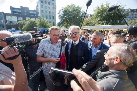 Dutch right-wing populist 'Partij voor de Vrijheid' (Party for the Freedom) leader Geert Wilders (C-L), during a visit with Flemish far-right 'Vlaams Belang' party' Filip Dewinter (C-R), in Antwerp, Belgium, 02 September 2018. Wilders announced on 30 August that he was cancelling the Prophet Muhammad cartoon competition, scheduled to be held in autumn, over security concerns.