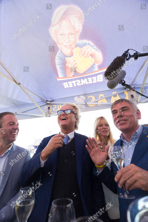 Dutch right-wing populist 'Partij voor de Vrijheid' (Party for the Freedom) leader Geert Wilders (2-L), during a visit with Flemish far-right 'Vlaams Belang' party' Filip Dewinter (R), in Antwerp, Belgium, 02 September 2018. Wilders announced on 30 August that he was cancelling the Prophet Muhammad cartoon competition, scheduled to be held in autumn, over security concerns.
