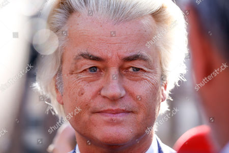 Dutch right-wing populist 'Partij voor de Vrijheid' (Party for the Freedom) leader Geert Wilders (L) speaks to the media during a visit with Flemish far-right 'Vlaams Belang' party' Filip Dewinter (not pictured), in Antwerp, Belgium, 02 September 2018. Wilders announced on 30 August that he was cancelling the Prophet Muhammad cartoon competition, scheduled to be held in autumn, over security concerns.