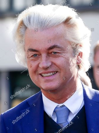 Dutch right-wing populist 'Partij voor de Vrijheid' (Party for the Freedom) leader Geert Wilders speaks to the media during a visit with Flemish far-right 'Vlaams Belang' party' Filip Dewinter (not pictured), in Antwerp, Belgium, 02 September 2018. Wilders announced on 30 August that he was cancelling the Prophet Muhammad cartoon competition, scheduled to be held in autumn, over security concerns.