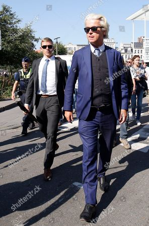 Dutch right-wing populist 'Partij voor de Vrijheid' (Party for the Freedom) leader Geert Wilders (C) during a visit with Flemish far-right 'Vlaams Belang' party' Filip Dewinter (R), in Antwerp, Belgium, 02 September 2018. Wilders announced on 30 August that he was cancelling the Prophet Muhammad cartoon competition, scheduled to be held in autumn, over security concerns.