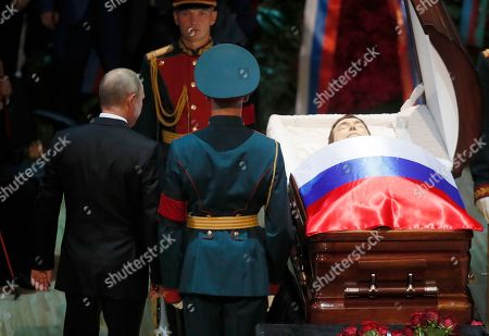 Russian President Vladimir Putin (C) pays his respect at the coffin during a funeral ceremony of the Soviet and Russian singer Iosif Kobzon at Tchaikovsky concert hall in Moscow, Russia, 02 September 2018. Iosif Kobzon, a leader of Soviet pop singer school, compared to Frank Sinatra and known also for his charity activity and as a public figure, has died at the age of 81 on 30 August 2018.