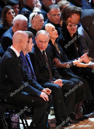 Russian President Vladimir Putin (3-L), with widow Nelli Kobzon (4-L), Maxim Kobzon (L) and their friend, first female cosmonaut Valentina Tereshkova (2-L) during a funeral ceremony of the Soviet and Russian singer Iosif Kobzon at Tchaikovsky concert hall in Moscow, Russia, 02 September 2018. Iosif Kobzon, a leader of Soviet pop singer school, compared to Frank Sinatra and known also for his charity activity and as a public figure, has died at the age of 81 on 30 August 2018.
