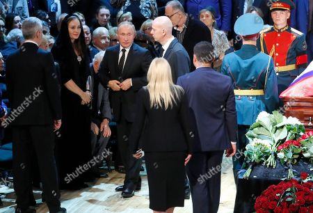 Russian President Vladimir Putin (C) attends a funeral ceremony of the Soviet and Russian singer Iosif Kobzon at Tchaikovsky concert hall in Moscow, Russia, 02 September 2018. Iosif Kobzon, a leader of Soviet pop singer school, compared to Frank Sinatra and known also for his charity activity and as a public figure, has died at the age of 81 on 30 August 2018.