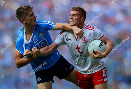 Stock Picture of Dublin vs Tyrone. Tyrone's Peter Harte with Michael Fitzsimons of Dublin