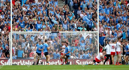 Dublin vs Tyrone. Dublin's Niall Scully celebrates scoring his sides second goal with Brian Fenton and Dean Rock