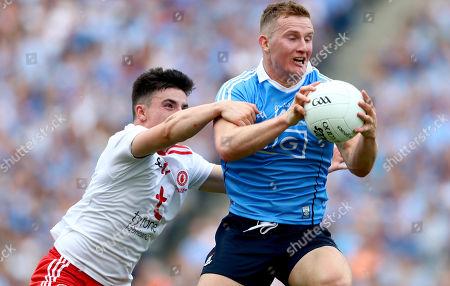 Dublin vs Tyrone. Tyrone's Lee Brennan and Ciaran Kilkenny of Dublin