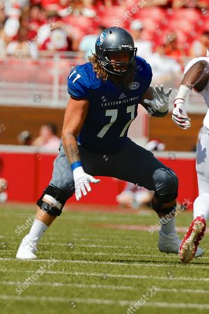 Panther left tackle Josh Doyle #77 takes a drop step in protection. Arkansas defeated Eastern Illinois 55-20 at Donald W. Reynolds Stadium in Fayetteville, AR, Richey Miller/CSM