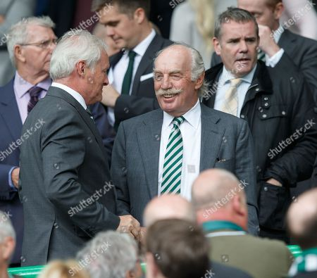 Dermot Desmond (C), Irish businessman and financier and the largest individual shareholder at Celtic FC, reacts during the Scottish Premiership soccer match between Celtic FC and Rangers FC in Glasgow, Britain, 02 September 2018.