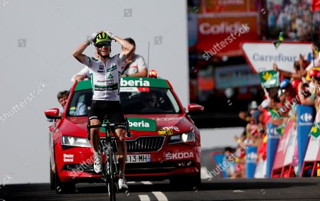 US rider Benjamin King of Dimension Data team reacts as he wins the 9th stage of La Vuelta 2018 cycling tour, over 200.8 km between Talavera de la Reina and La Covatilla, Salamanca, Spain, 02 September 2018.