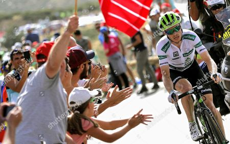 Stock Picture of US rider Benjamin King of Dimension Data team in action during the 9th stage of La Vuelta 2018 cycling tour, over 200.8 km between Talavera de la Reina and La Covatilla, Salamanca, Spain, 02 September 2018.