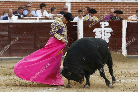Spanish bullfighter Jose Maria Manzanares fights his first bull during the Santisimo Cristo de los Remedios bullfighting event in San Sebastian de los Reyes, Madrid, Spain, 02 September 2018.