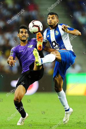 FC Porto's Jesus Manuel Corona (R) in action against Bruno Silva (L) of Moreirense during the Portuguese First League soccer match between FC Porto and Moreirense FC in Porto, Portugal, 02 September 2018.