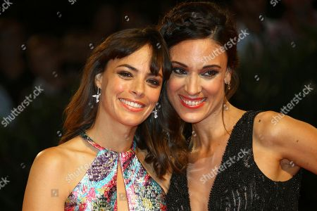 Berenice Bejo, Martina Gusman. Actresses Berenice Bejo, left, and Martina Gusman pose for photographers at the premiere of the film 'La Quietud' at the 75th edition of the Venice Film Festival in Venice, Italy