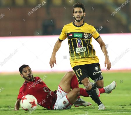 Al Ahly player, Naseer Maher (L) in action against El Entag El Harby player, Essam El Hadary Abdel Rahman Bpdy (R) during their Egyptian league soccer match between Al Ahly and El Entag El Harby at AlSalam Stadium in Cairo, Egypt, 02 September 2018.