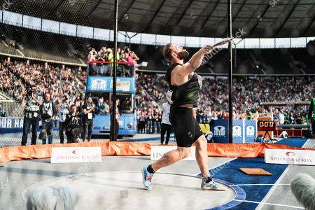 Stock Photo of Berlin, Deutschland, 02.09.2018: Robert Harting bei seinem letzten Wurf bei seinem letzten Wettkampf beim Leichtathletik Meeting ISTAF im Berliner Olympiastadion.