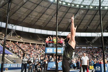Berlin, Deutschland, 02.09.2018: Robert Harting bei seinem letzten Wurf bei seinem letzten Wettkampf beim Leichtathletik Meeting ISTAF im Berliner Olympiastadion.