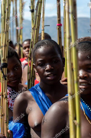 Young women participating in the annual 'Umhlanga', or Reed Dance ceremony, march towards the main stadium at the Swazi Royal Residence with their reeds to be presented to King Mswati III, in Mbabane, Swaziland or eSwatini, 02 September 2018. On the main day of the eight-day event, the young women gather in their groups according to where they live and present the reeds to the Queen Mother and King Mswati III as a rite of passage.