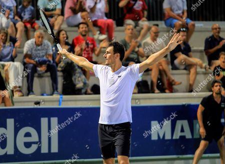 Stock Picture of Australian tennis player Bernard Tomic celebrates his victory against German Matthias Bachinger during the Rafa Nadal Banc Sabadell Tournament held at Rafa Nadal Academy in Manacor, Spain, 02 September 2018 (issued 03 September 2018).
