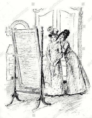 Mary Gives Fanny A Necklace. Author: Jane Austen. Illustration by Hugh Thomson, 1897.