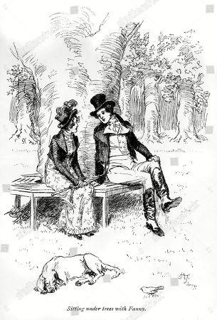 Fanny Price and Mr. Bertram Sitting Under the Trees. Author: Jane Austen. Illustration by Hugh Thomson, 1897.